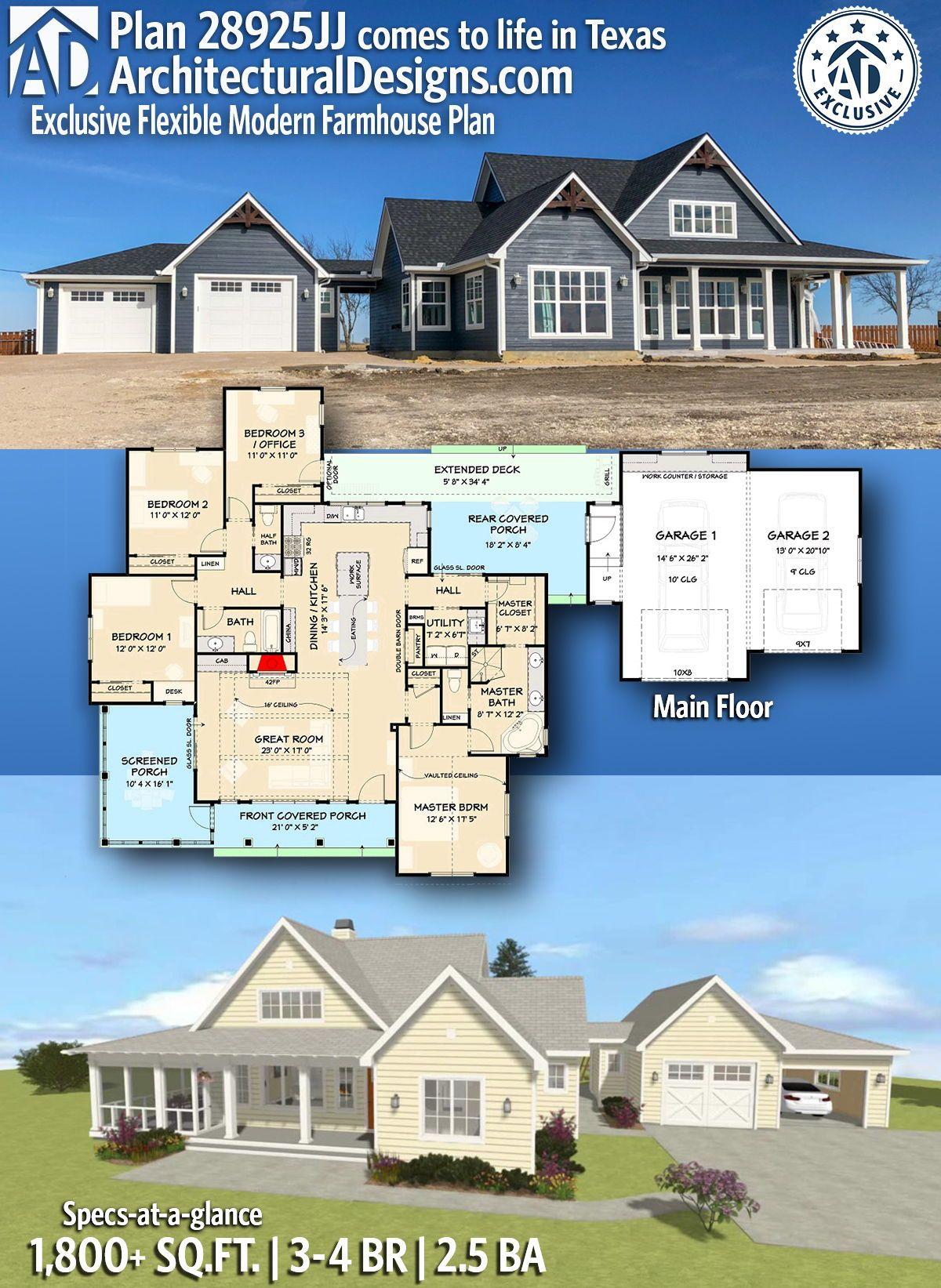 Plan 28925jj Exclusive Flexible Modern Farmhouse Plan In
