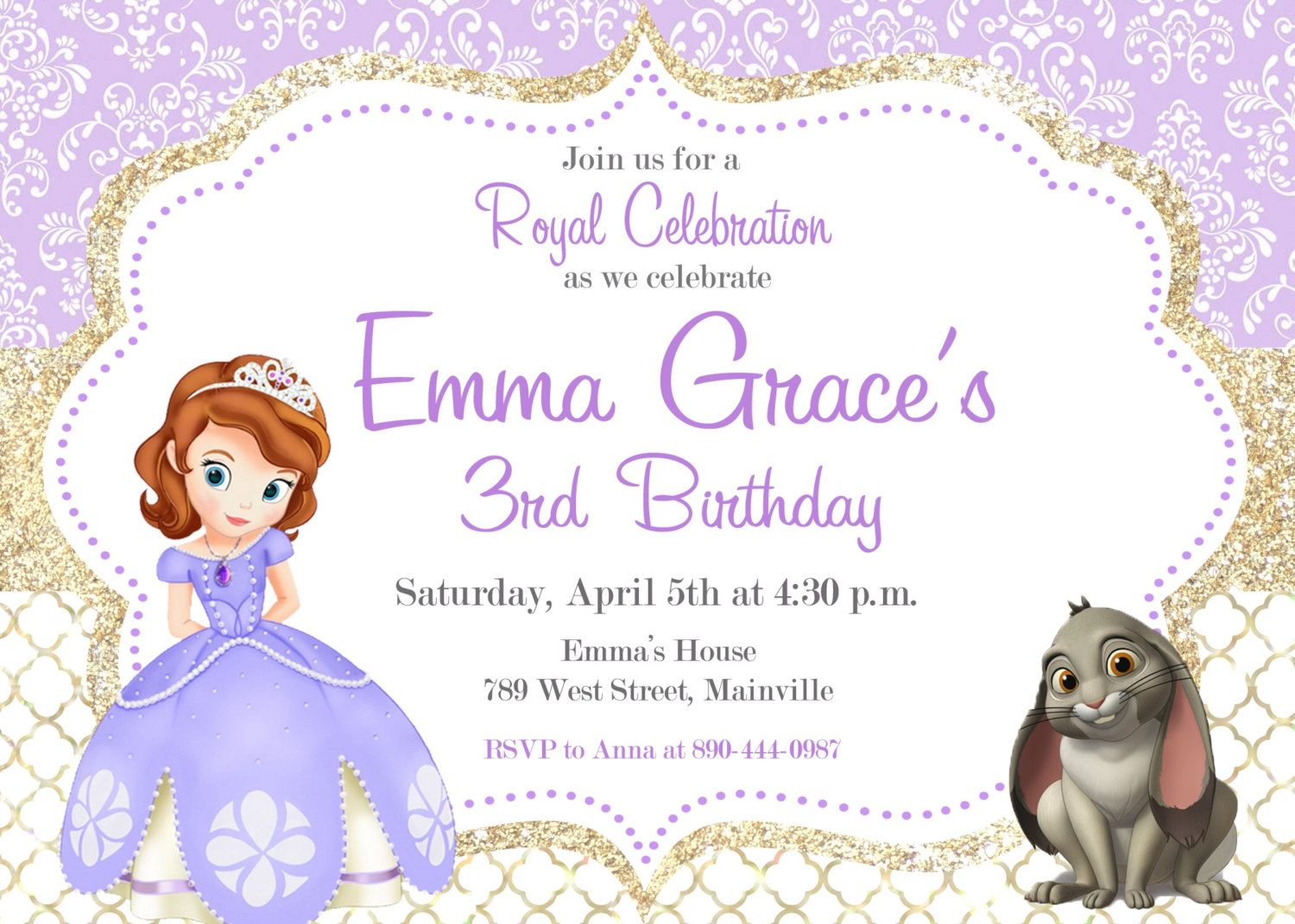 Sofia the First Birthday Party Invitation, Digital or Printed ...