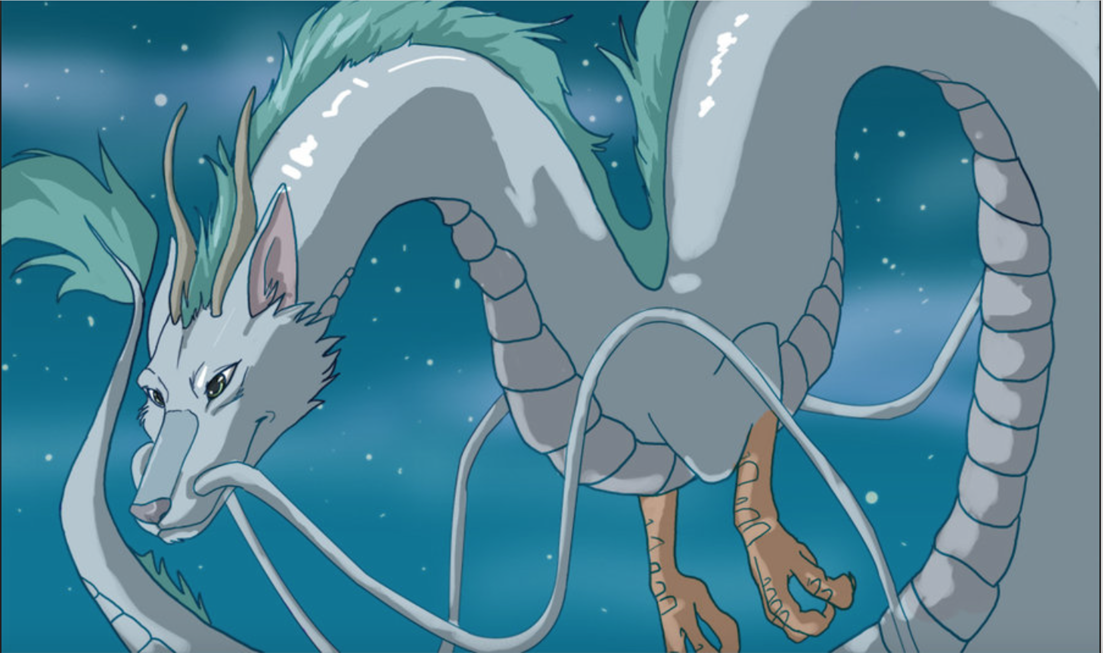 Haku The Dragon Flying In The Sky Of Sparkling Stars Funny Anime Pics Studio Ghibli Dragon Icon
