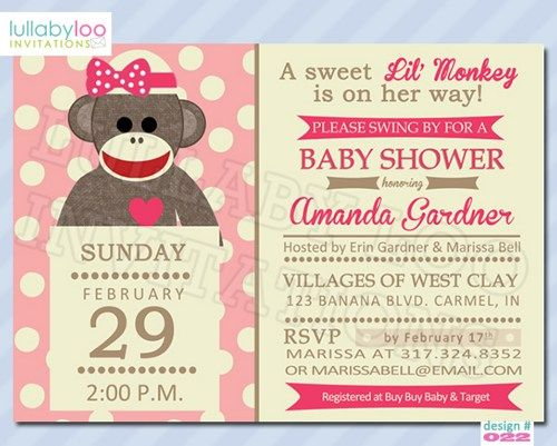 Pink Sock Monkey Baby Shower Invite Google Search Baby Showers