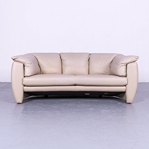 Leolux Designer Leder Sofa Beige Grau Zweisitzer Couch Echtleder