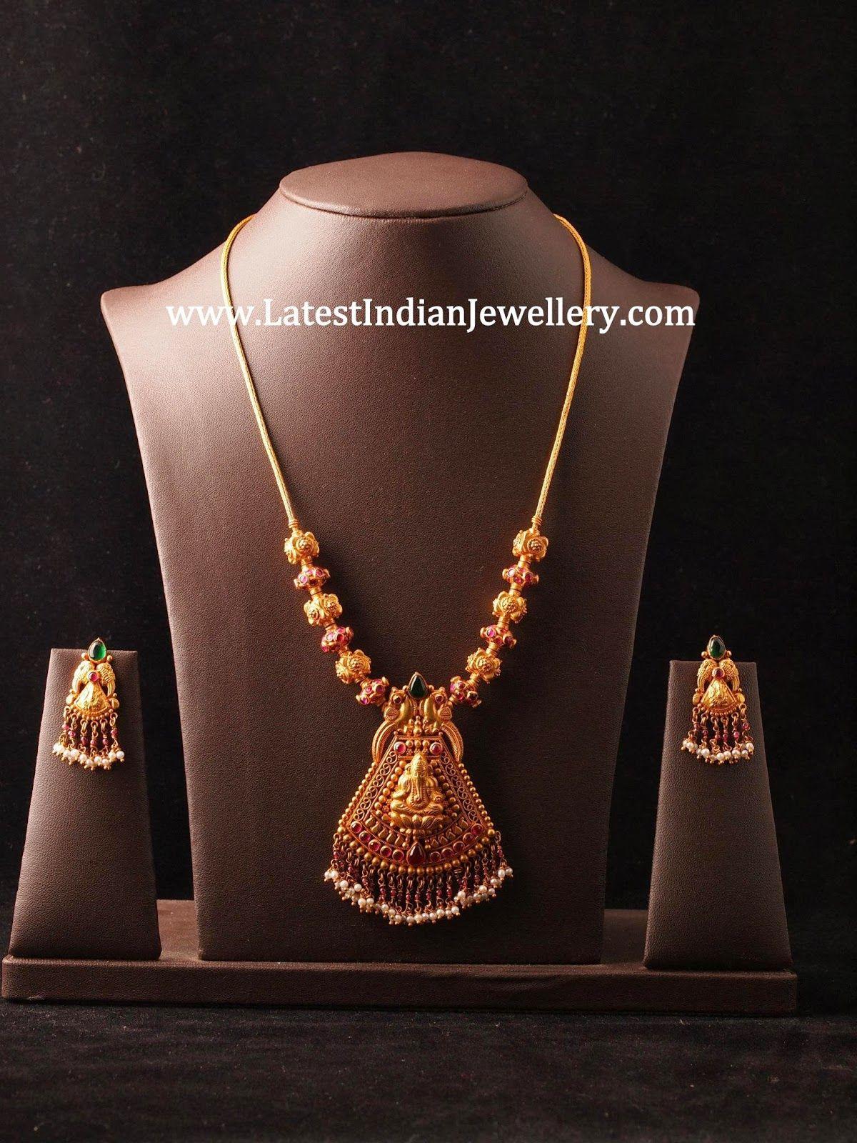 simple temple jewellery design necklace haaram designs. Black Bedroom Furniture Sets. Home Design Ideas