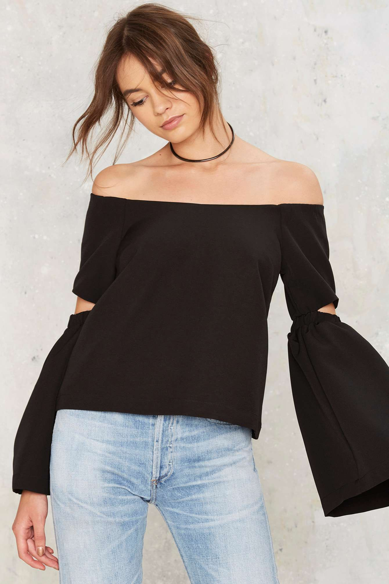 fac994a3f65564 Slits Well With You Off-the-Shoulder Top