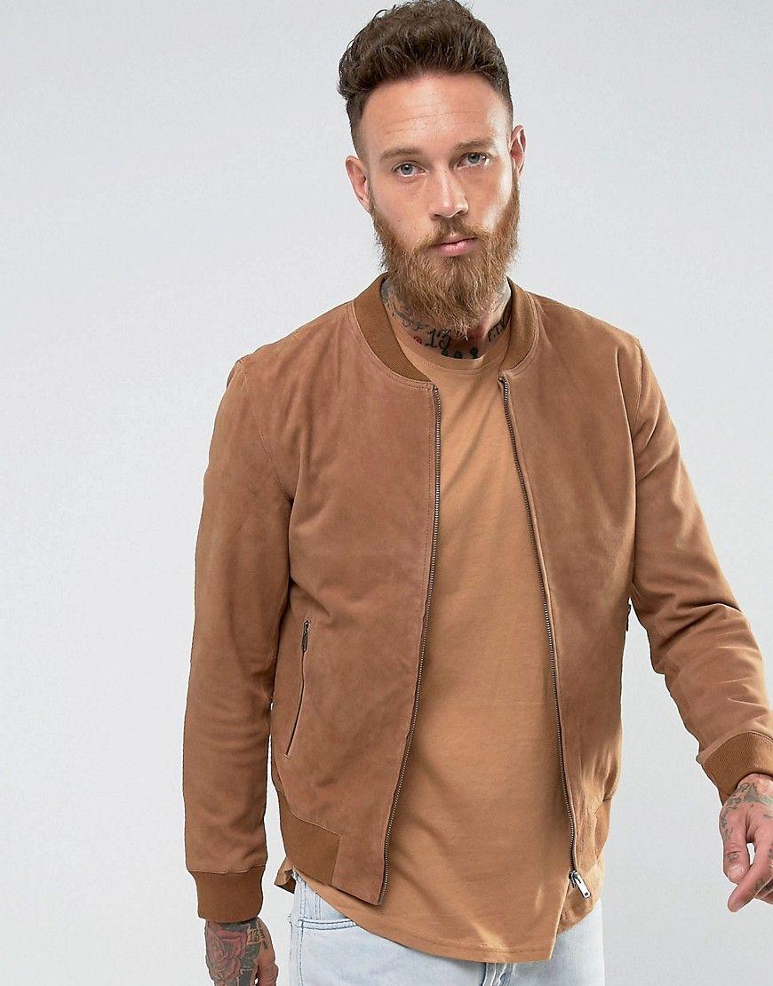 Selected Homme Suede Bomber Jacket Beige Suede Bomber Jacket Brown Jacket Outfit Men Bomber Jacket [ 1110 x 870 Pixel ]