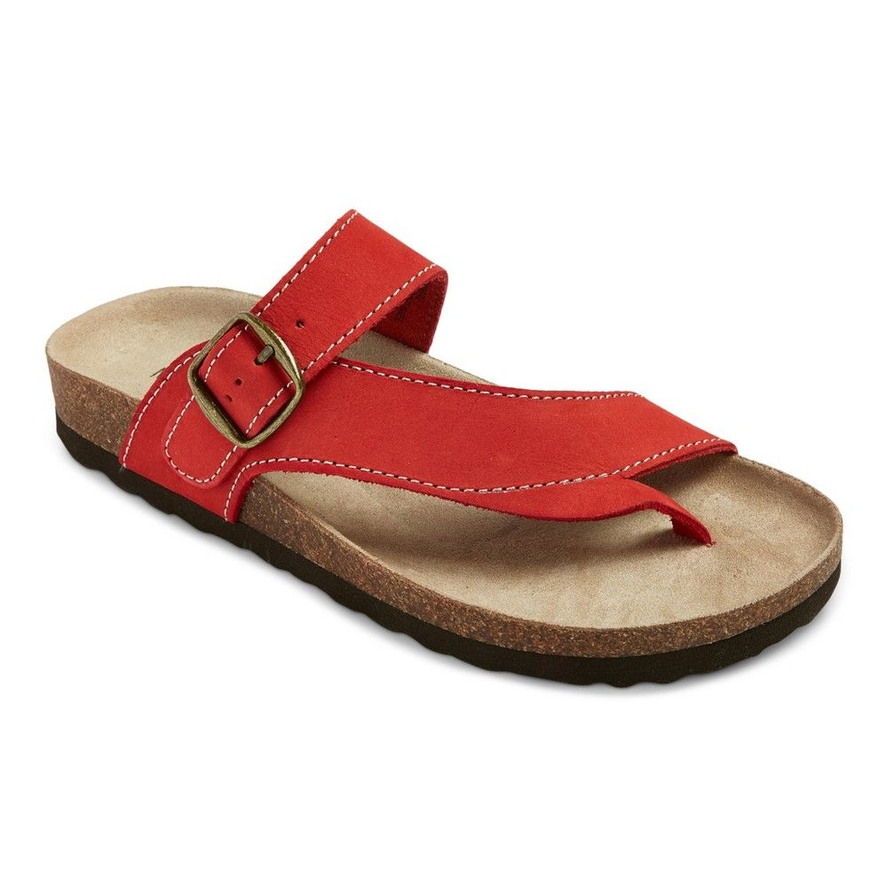 ad406f8039d0 Women s Mountain Sole Cozumel Toe Thong Footbed Sandals - Red 6 ...