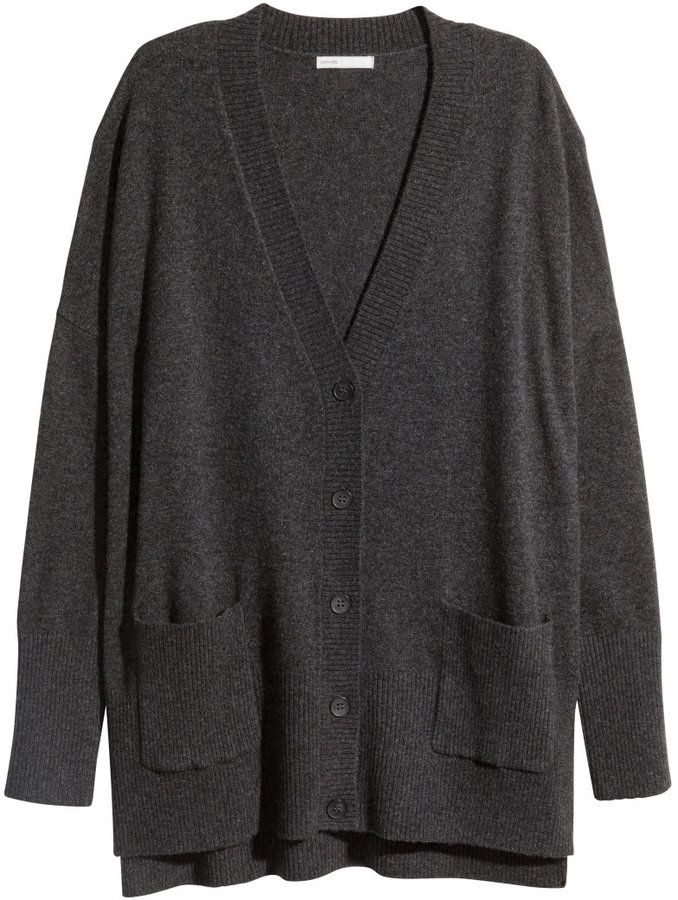 H&M - Cashmere Cardigan - Dark gray melange - Ladies | style ...