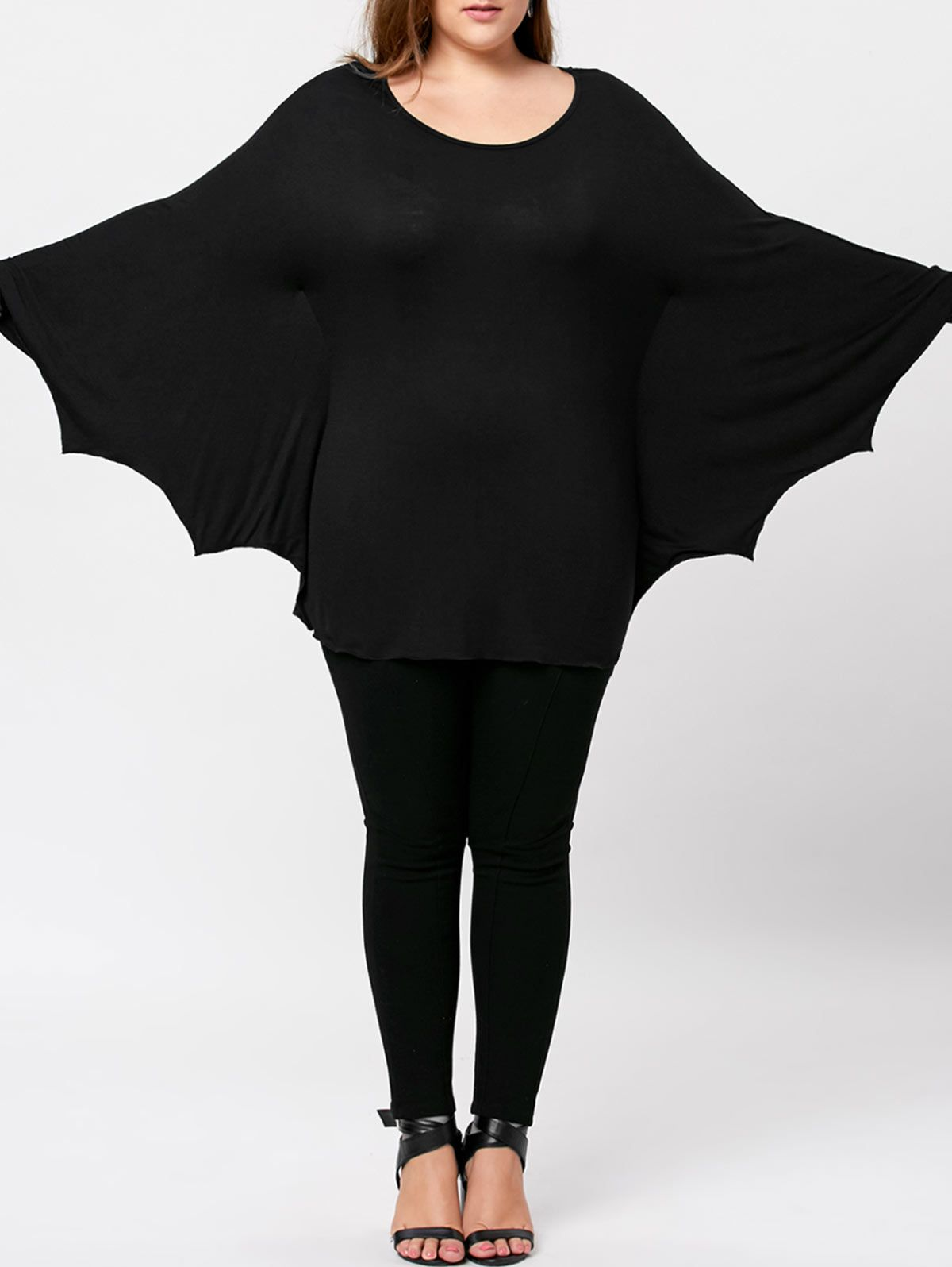 plus size halloween batwing t shirt black 3xl