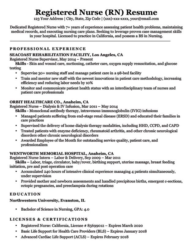 Registered Nurse (RN) Resume Sample Registered nurse