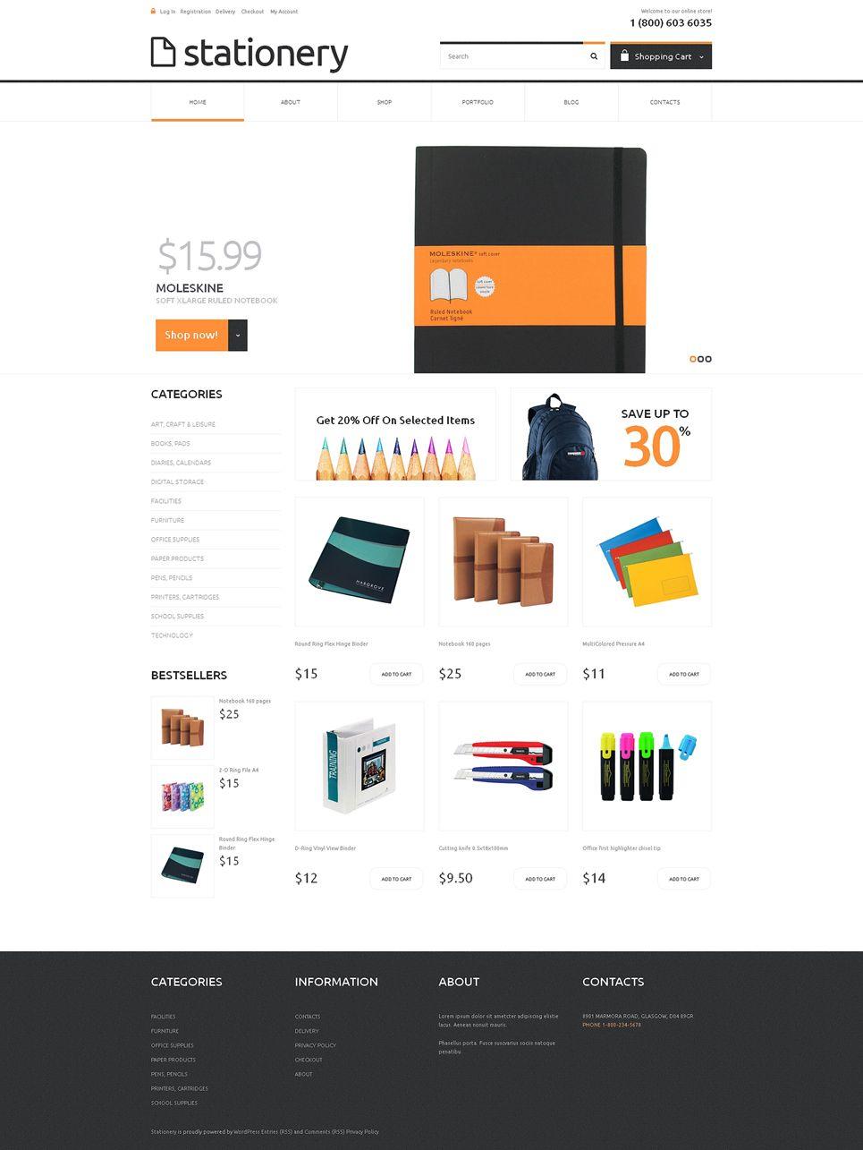 Stationery Responsive Jigoshop Theme 48673 Woocommerce Themes Woocommerce Website Design
