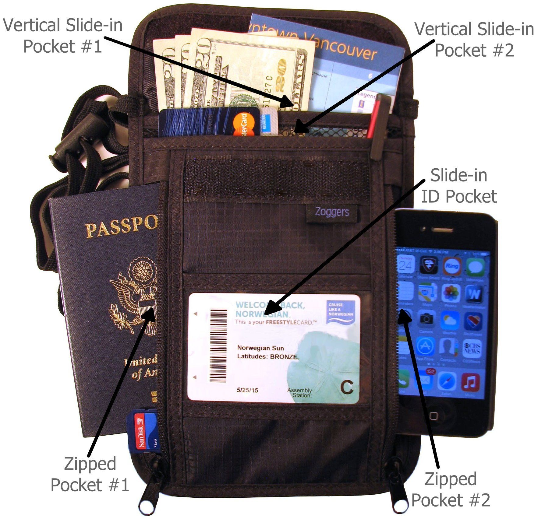 Amazon Com Wearable Travel Wallet Fits Any Size Cell Phone