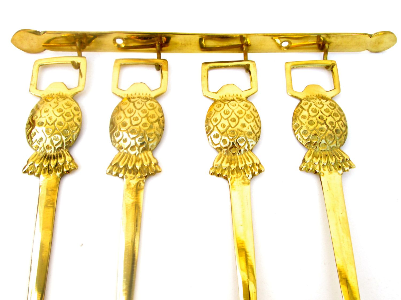 Vintage 5-Piece Brass Pineapple Decorative Kitchen Wall Spoon Set ...