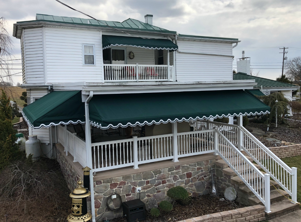 Porch And Window Awnings All Around A Home Kreider S Canvas Service Inc Window Awnings Awning Porch Awning