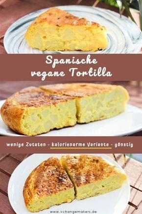 Rezept: Spanische vegane Tortilla - wenige Zutaten - kalorienarm - günstig #spanishmeals