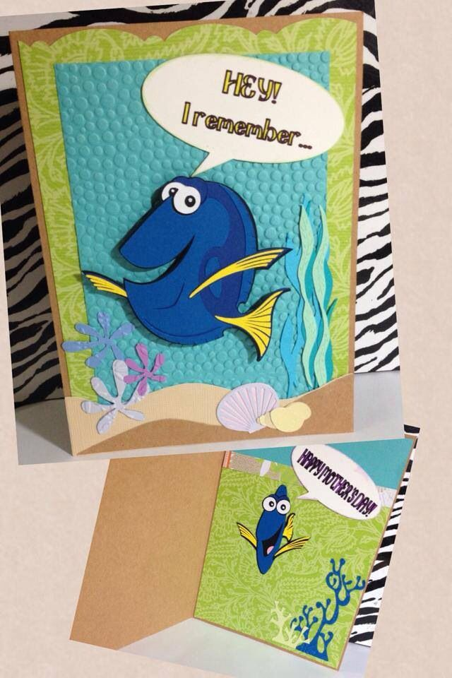 Finding Nemo Dory Card Made This For Mother S Day Using My Cricut Kids Birthday Cards Disney Birthday Card Creative Cards