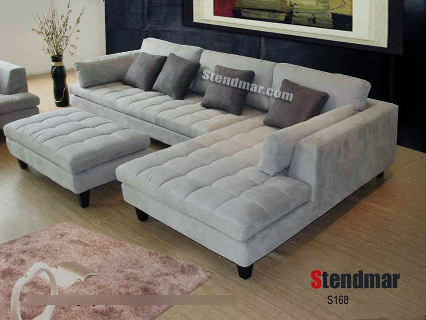grey microfiber sectional sofa set