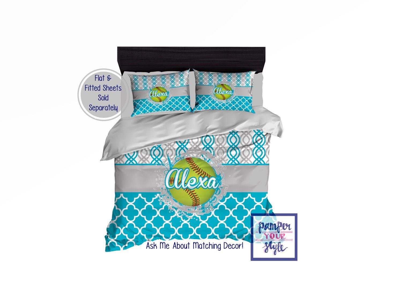 Softball Bedding Comforter Or Duvet With Pillow S Custom Softball Bedding Softball Bedding For Girls Personalized Softball Blanket Softball Bedroom Toddler Duvet Bed Styling