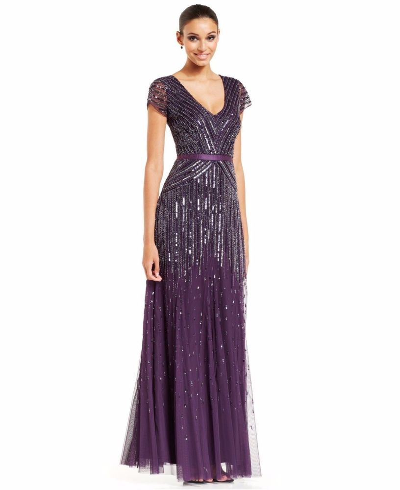 Papell cap sleeve beaded sequined gown dresses women macy s - New Adrianna Papell Purple Beaded Sequin Embellished V Neck Formal Gown Dress 6