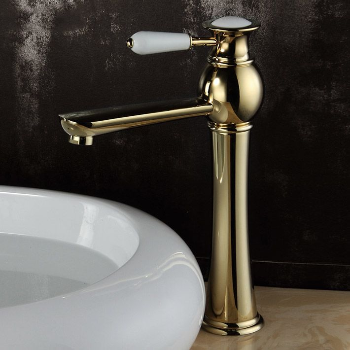 Solid Brass Gold Plated Basin Mixer Water Tap Single Hole Bathroom - Gold plated bathroom faucets