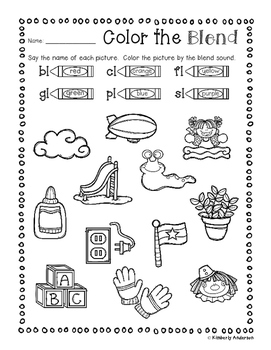 No Prep: L-Blends Coloring Picture Match Activity Sheets