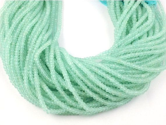 """2 Strands Natural Chalcedony Faceted 2.5-3mm Rondelle Drilled Beads 13"""" Long  #luctsa #Faceted"""