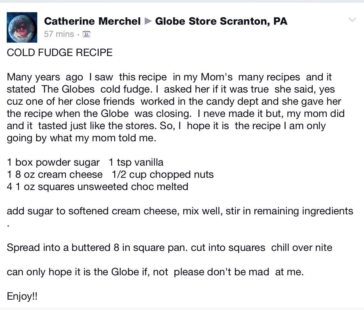 Cold Fudge ala The Globe Store   Recipes - Desserts Candy ...