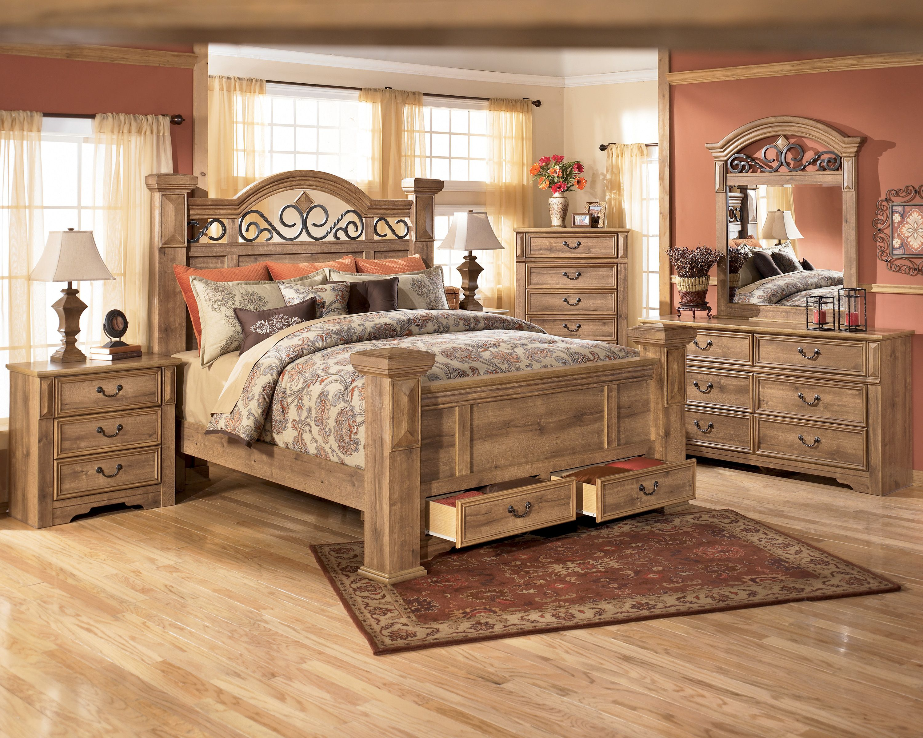 signature design by ashley whimbrel forge poster bed bedroom set home furniture showroom - Complete Bedroom Decor