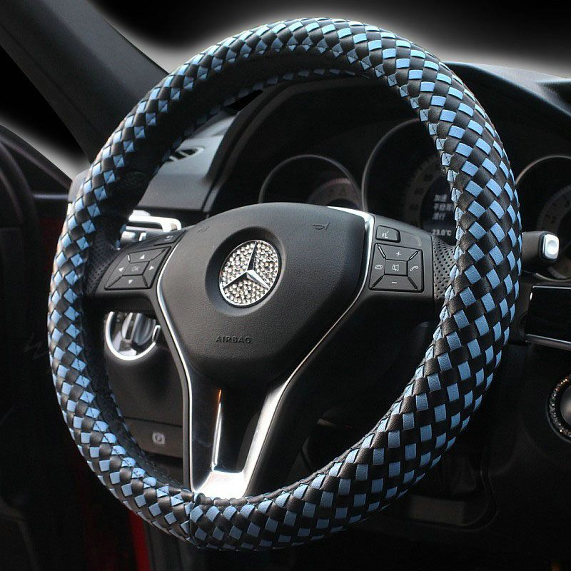 59.48 Fashion Woven Genuine Leather Car Steering Wheel