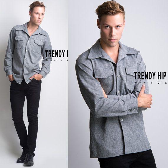 Men's Vintage shirt Men's 70s shirt Men's by TrendyHipBuysVintage
