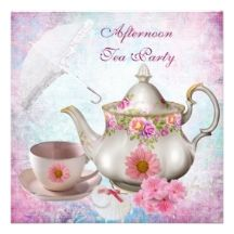 Afternoon Tea Party umbrella Pink Floral Teapot Custom Invites