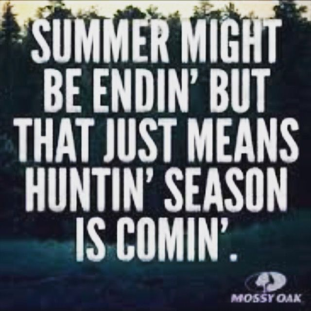 I love this quote because summer is just going to end here in a bit which sucks because i have to go back to school but i cant wait to go hunting