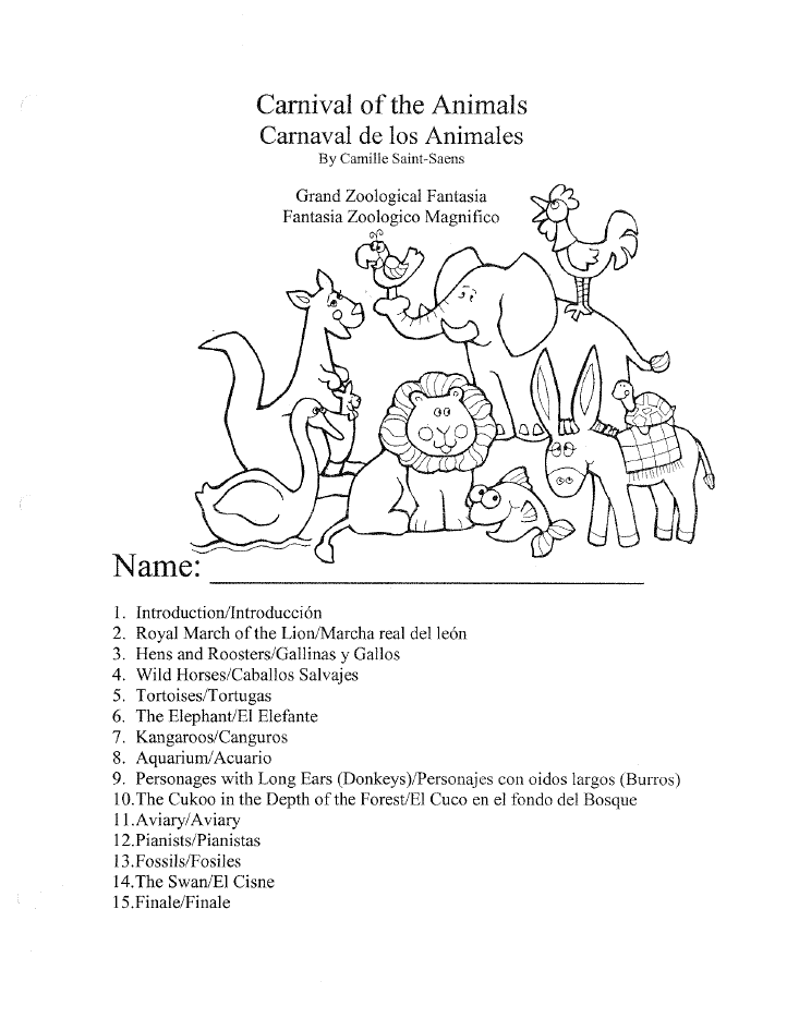Carnival Of The Animals Worksheet Packet By Camille Saint Saens