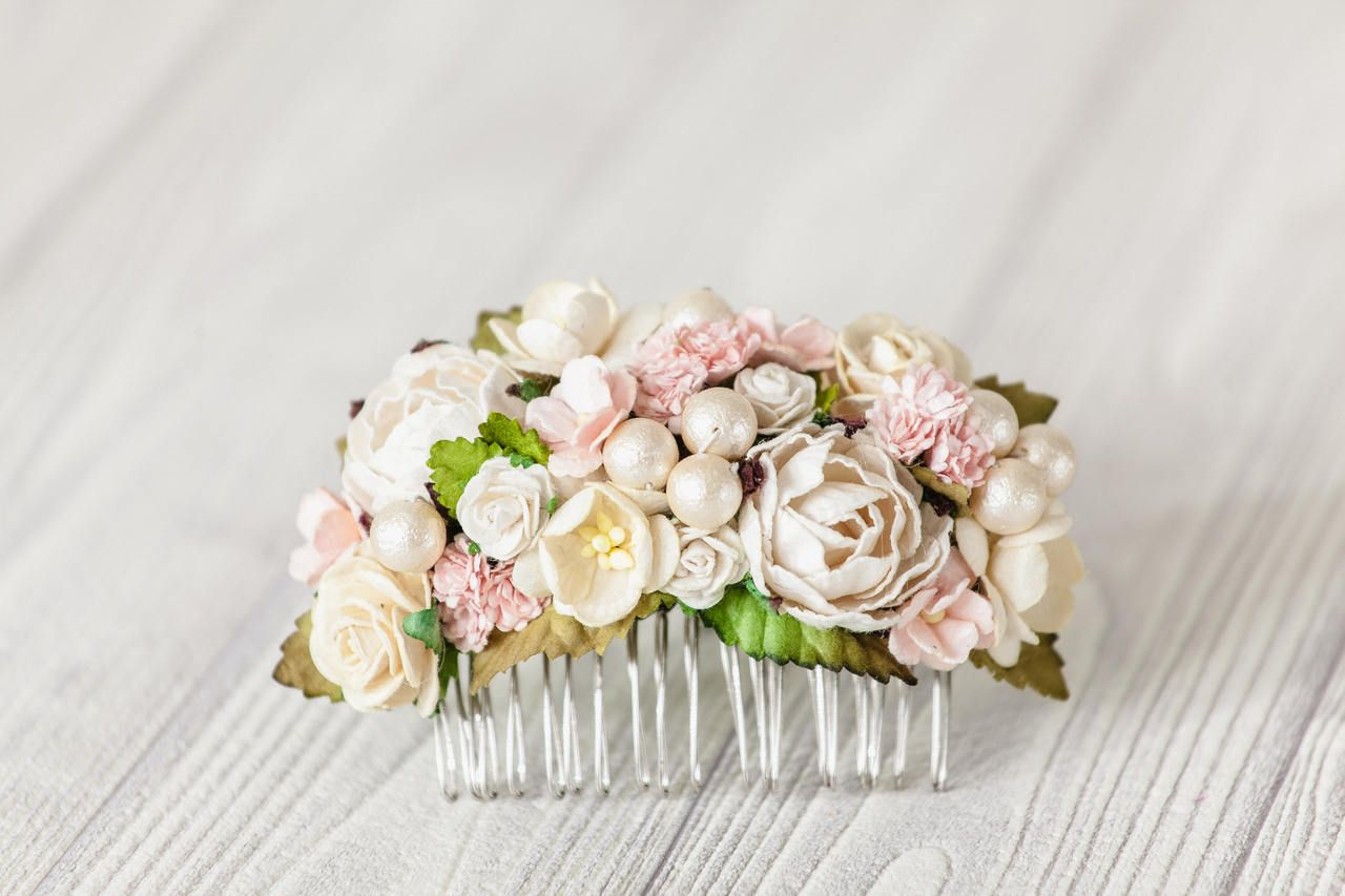 Pale Pink Wedding Hair Flower Bridal Accessories Floral Hair Comb