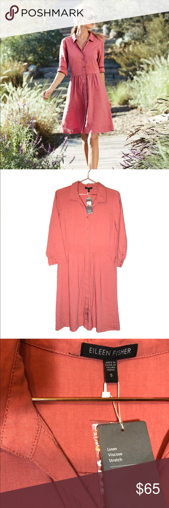 Eileen Fisher Classic Shirt Dress Coral Small Eileen Fisher Classic Linen Shirt Dress Size Small Color Classic Shirt Dress Eileen Fisher Dress Eileen Fisher