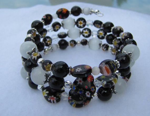 Memory coil wrap Bracelet Opals Millefiori by BellesUniqueBoutique, $21.99