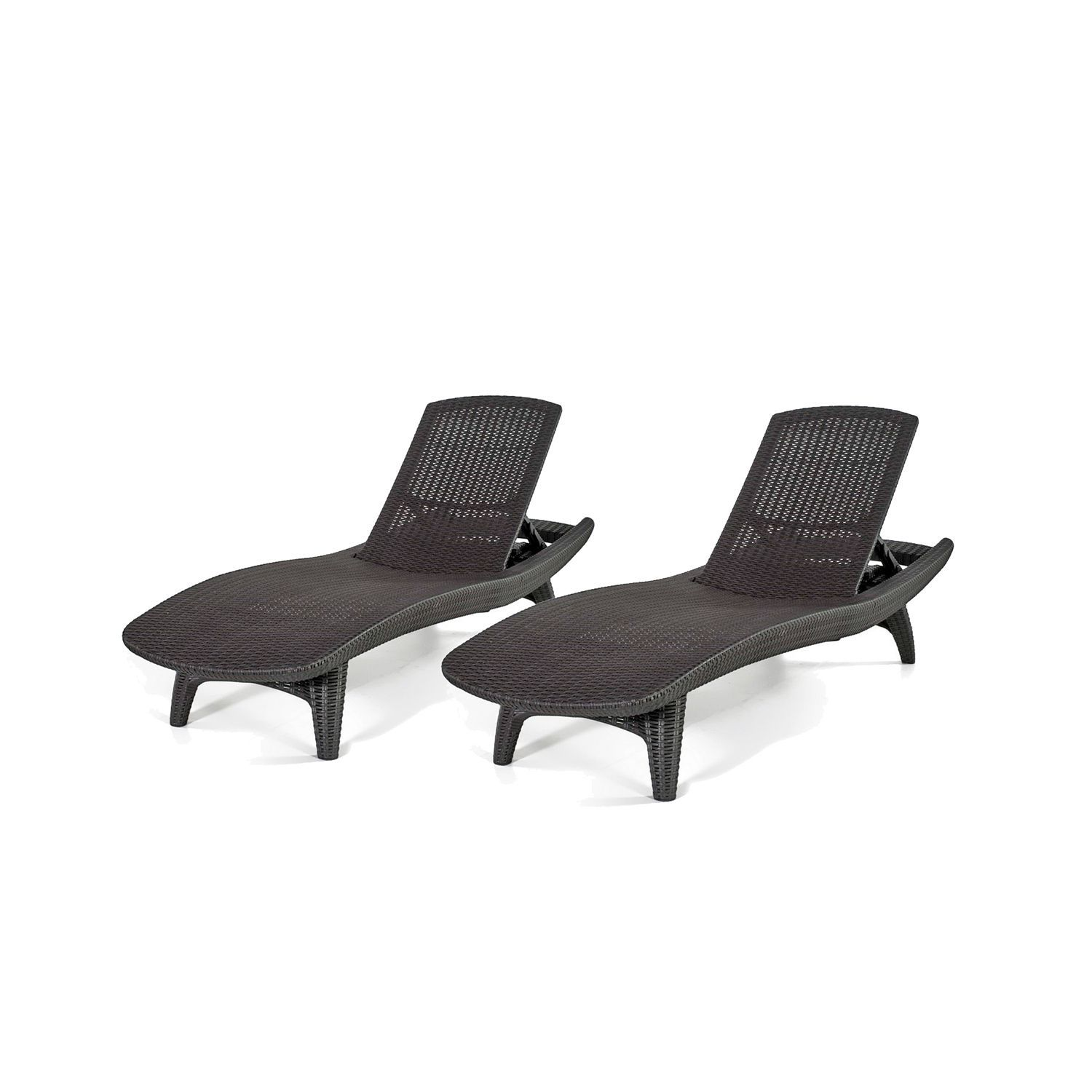 Keter 2 Pack Adjustable Chaise Lounge All Weather Outdoor Furniture Grey Sam S Club Lounge Chair Outdoor Chaise Lounger Patio Chaise