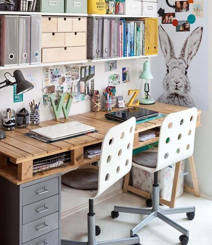 Wooden desk with storage space and chairs with wheels