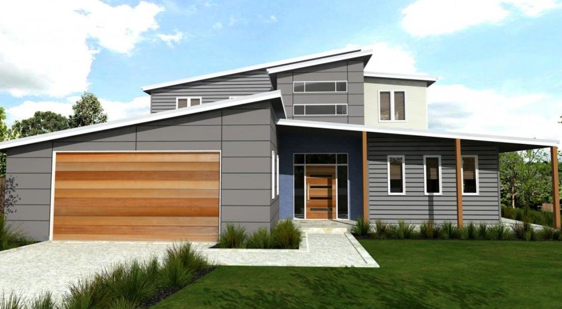 Skillion roof split level exterior ideas Facade house