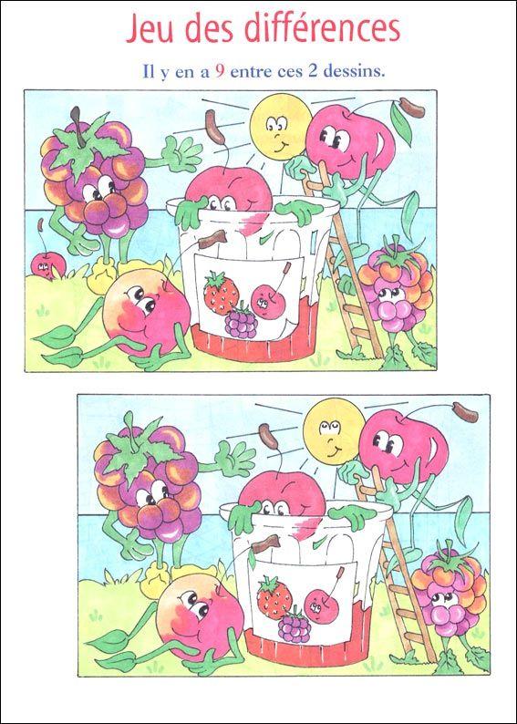 jeu des 7 erreurs à imprimer | Jeux difference, Jeux des 7 différences et Jeux de fruit