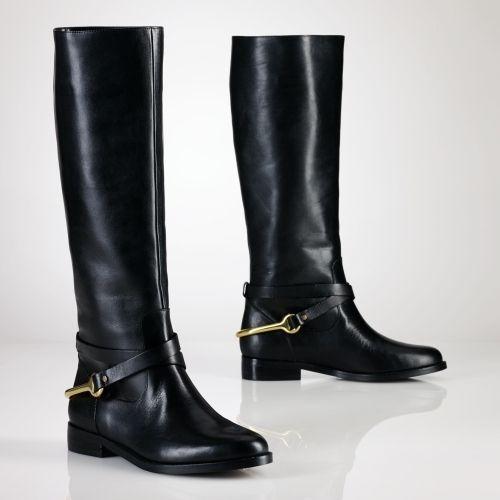 Ralph Lauren Collection Sandra Equestrian Leather Tall
