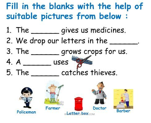 Fill In The Blanks Worksheet About Community Helpers Community