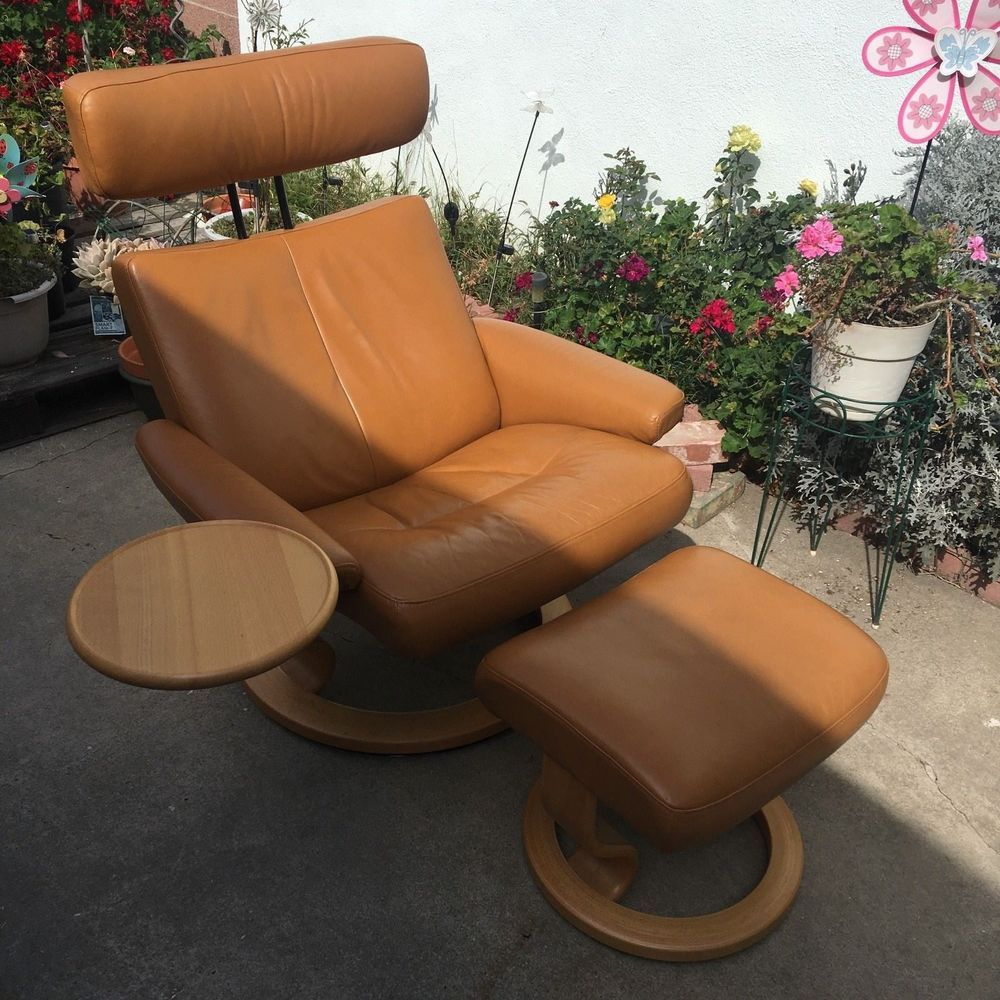 Ekornes Stressless Leather Large Recliner Chair Ottoman Swivel