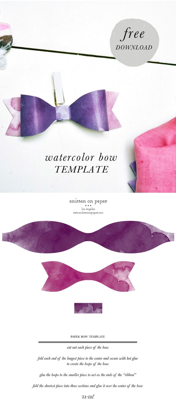 Free Download Watercolor Paper Bow Template Free Printables