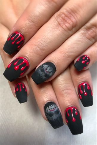 Jason by jdeviva from Nail Art Gallery | Halloween nail ...