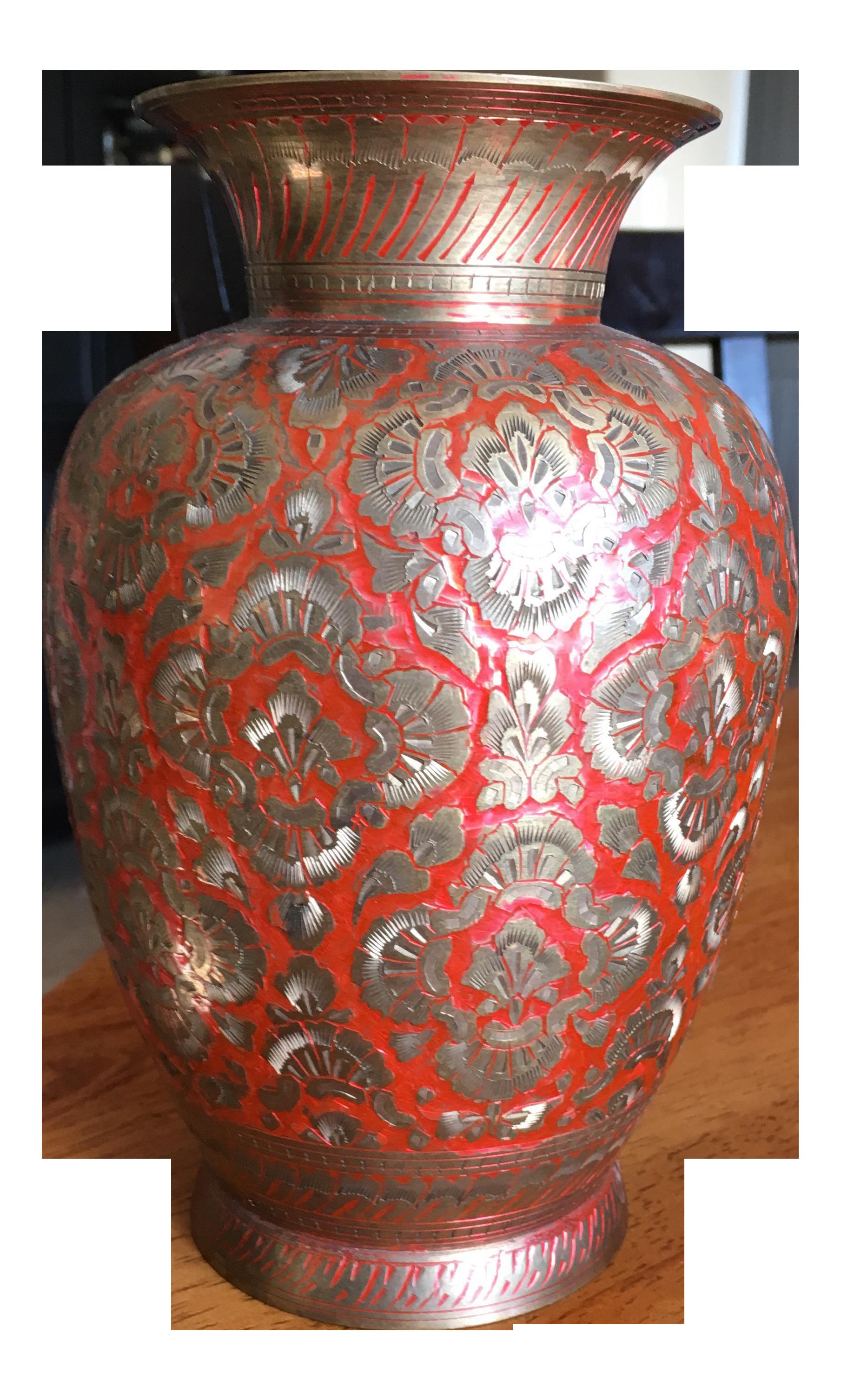Vintage Red Enameled Brass Vase | Vase shop, Vase, Brass vase