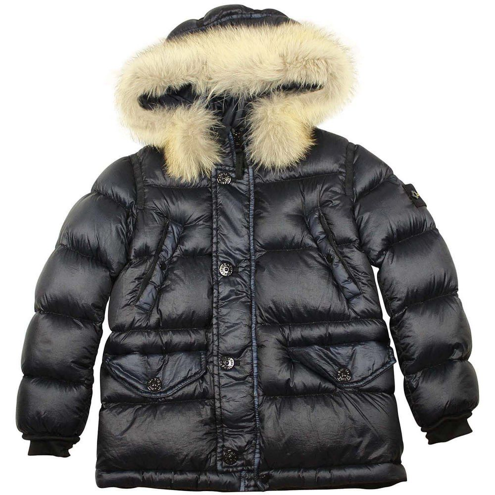 721f443cdc4e Stone Island Puffer Jacket Fur Hood Navy - Stone Island from ...