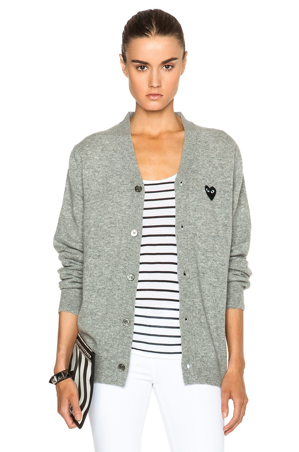 38a050691581 Comme Des Garcons PLAY Wool Black Heart Emblem Cardigan in Light Grey