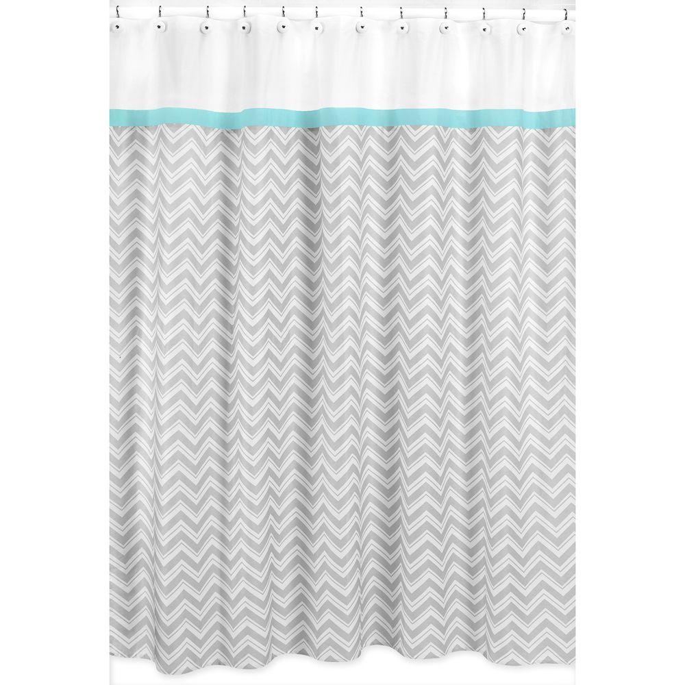 House Turquoise Grey Zig Zag Shower Curtain