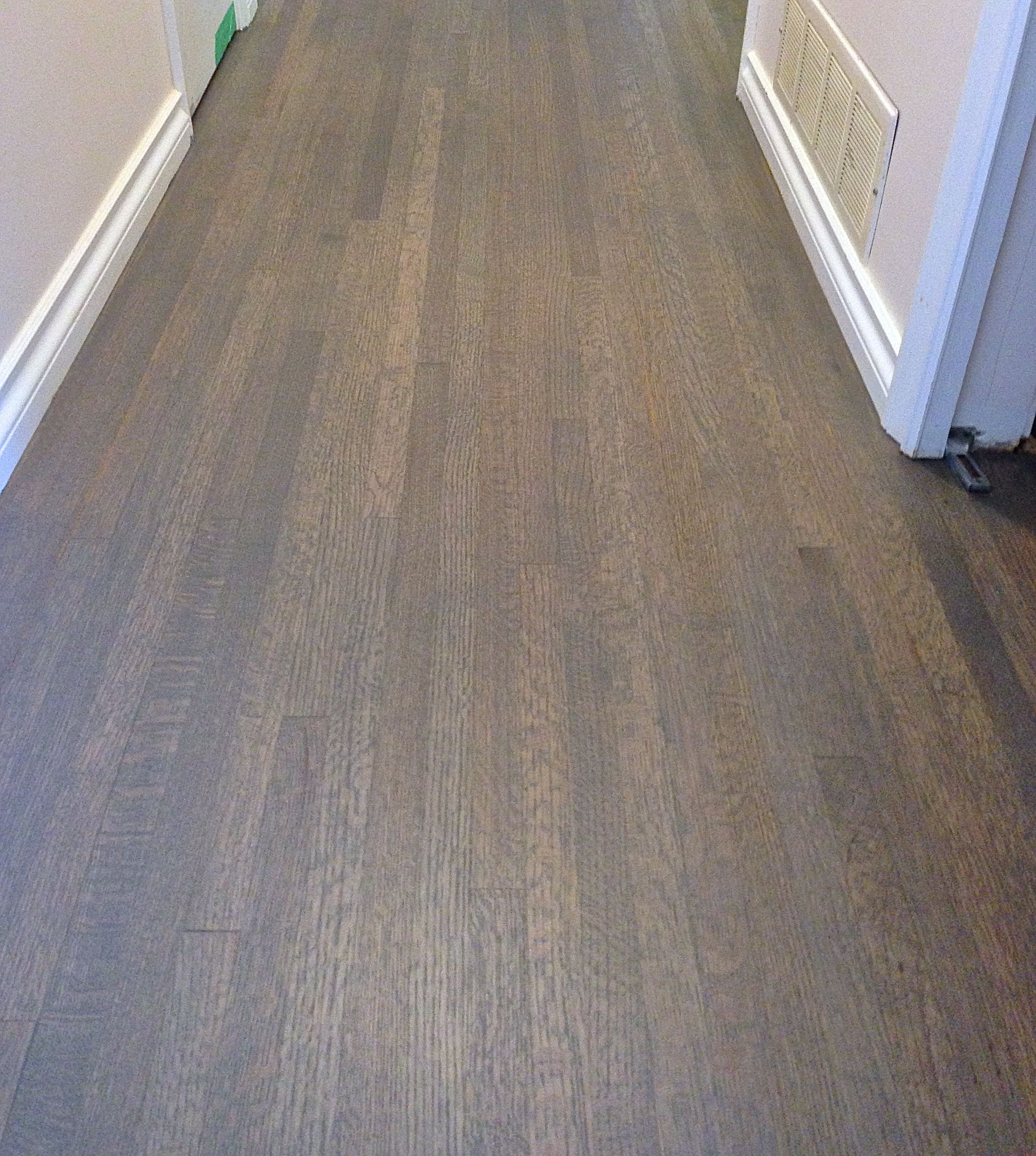 Red Oak Hardwood Floor Custom Stained A Grey Mix Colour Finished With Satin Water Based Finish