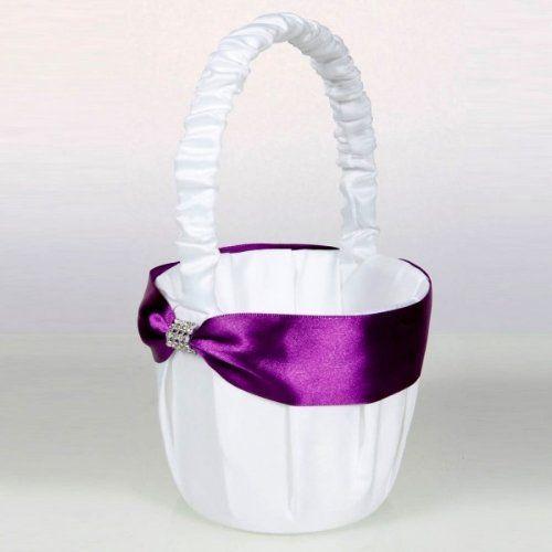 Usongs Satin Flower Girl Basket White Purple For Wedding Bridal Party Home Deco Gift Christmas