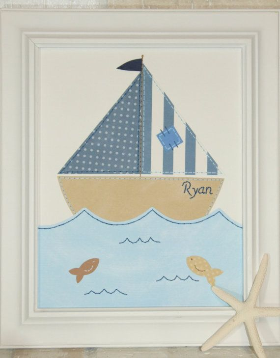 Sailboat Nautical Nursery Art Boy Wall Decor Custom Sewn Paper Collage